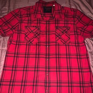 Guess red and black button up short sleeve